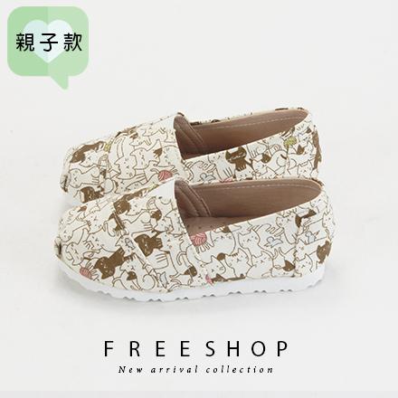 Free Shop童鞋款滿版可愛貓咪便鞋休閒鞋懶人鞋舒適楦頭超柔軟止滑透氣超好穿FNB49 QSH0653