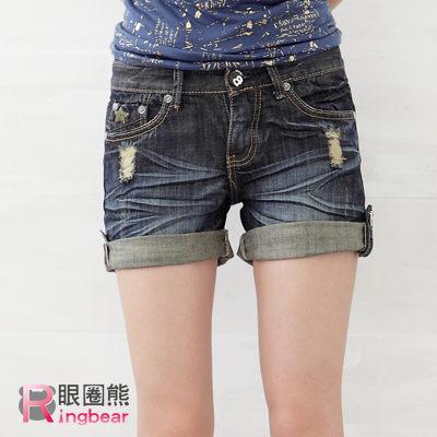 短褲--細身輪廓反摺刷破星星字母低腰牛仔短褲(M-6L)-R36眼圈熊中大尺碼★