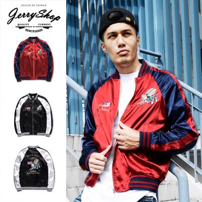外套JerryShop美式卡通刺繡橫須賀外套2色緞面棒球外套日系XX00814