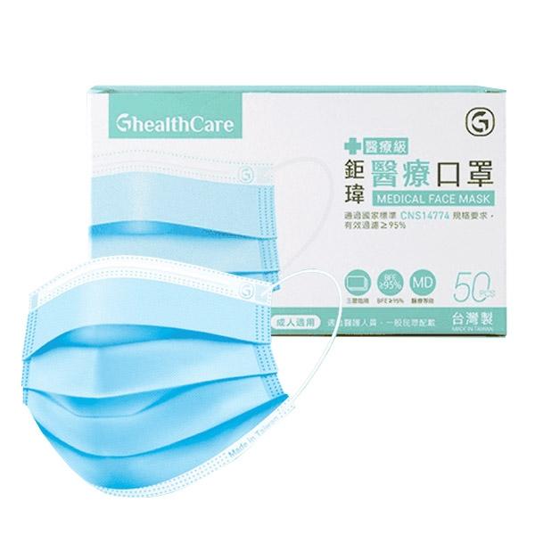 [ 現貨 ]鉅瑋 成人平面醫療口罩-藍色 (50片/盒)【杏一】