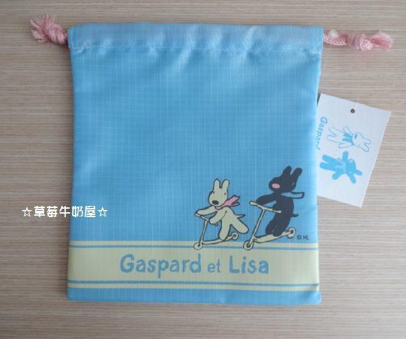 草莓牛奶屋日本進口Gaspard et Lisa黑白狗滑板車系列束口袋藍色大