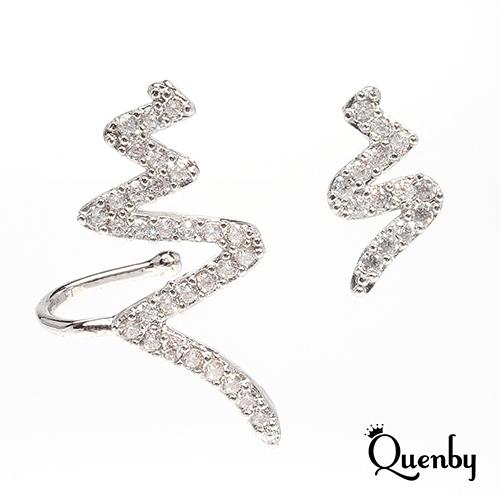 Quenby  925純銀 極具線條感不對稱耳環/耳針
