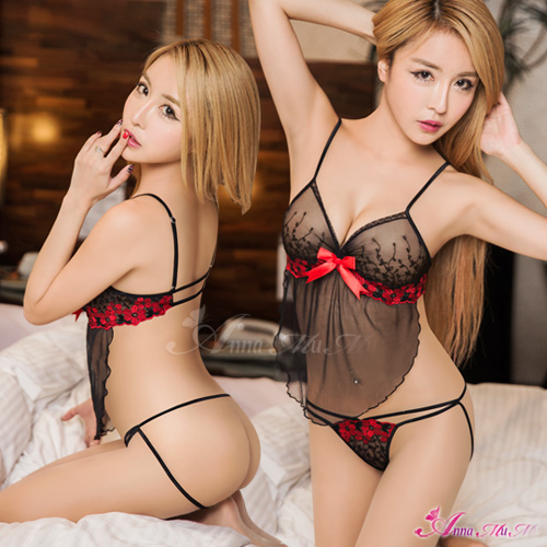 性感寶盒情趣睡衣薄紗刺繡肚兜睡衣二件組NA13030086