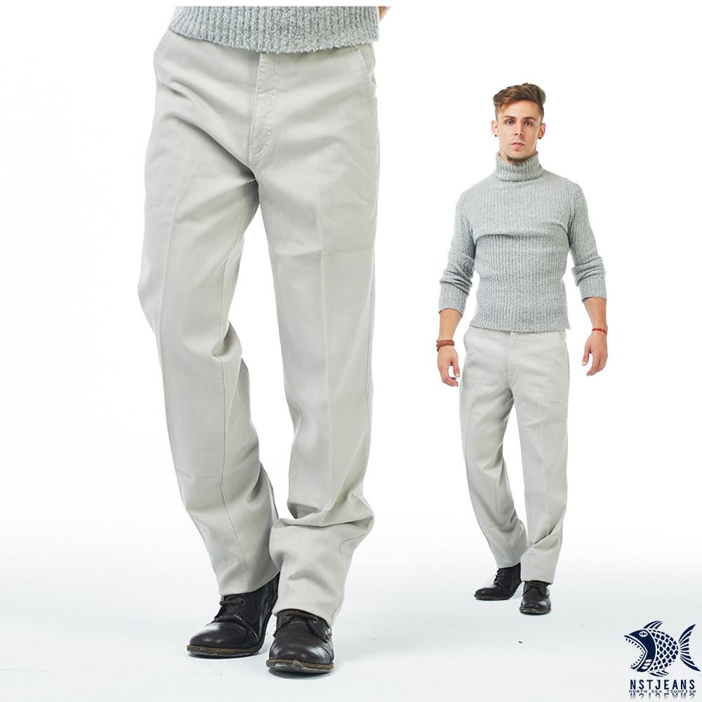 【NST Jeans】人間好時節 暖象牙白 細織紋_斜口袋休閒男褲(中腰) 390(5630) 台製 紳士 男 秋冬款