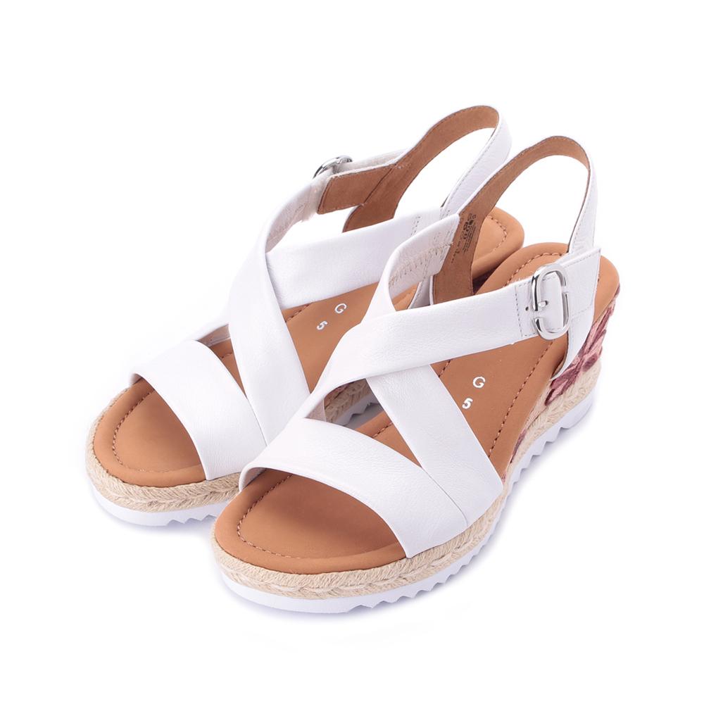 德國 GABOR 編麻交叉楔型涼鞋 白 22.831.50 女鞋