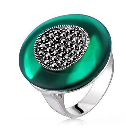銀飾品 圓環綠瑪瑙寶石 寬戒指