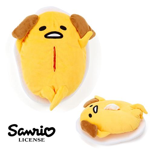 【日本進口三麗鷗正版】 蛋黃哥 敗犬造型 面紙套 絨毛小抱枕 gudetama - 402839
