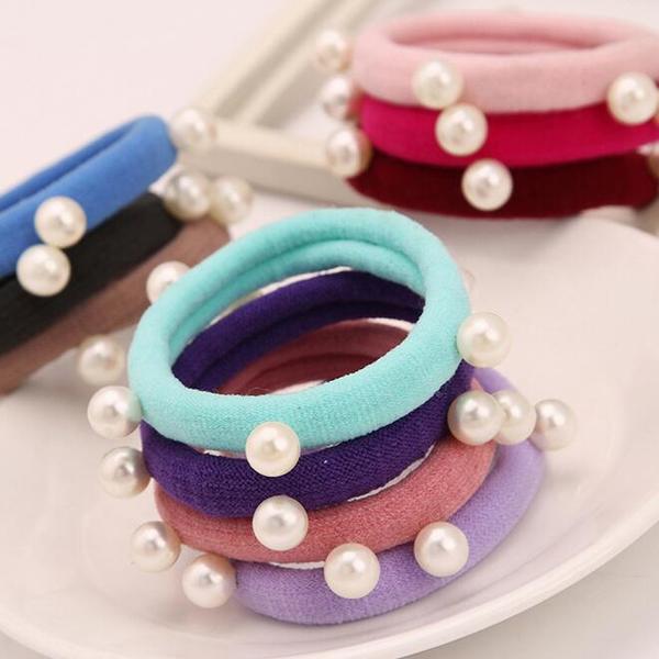 韓版多樣式時尚珍珠毛巾圈髮飾1入小三美日顏色隨機