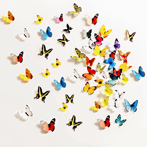 筆紙膠帶3件58折BlueCat浪漫立體蝴蝶會飛裝飾貼壁貼15入