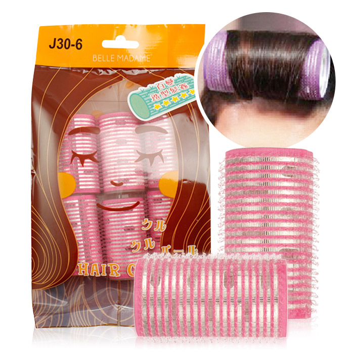 Belle Madame 貝麗瑪丹 J30-6 百變造型髮卷 6入/包(30m/m) 粉紅色 ◆86小舖◆