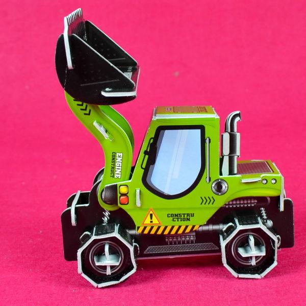 佳廷家庭親子DIY紙模型3D立體拼圖贈品獎勵品專賣店袋裝工程車3綠推土機Calebou卡樂保