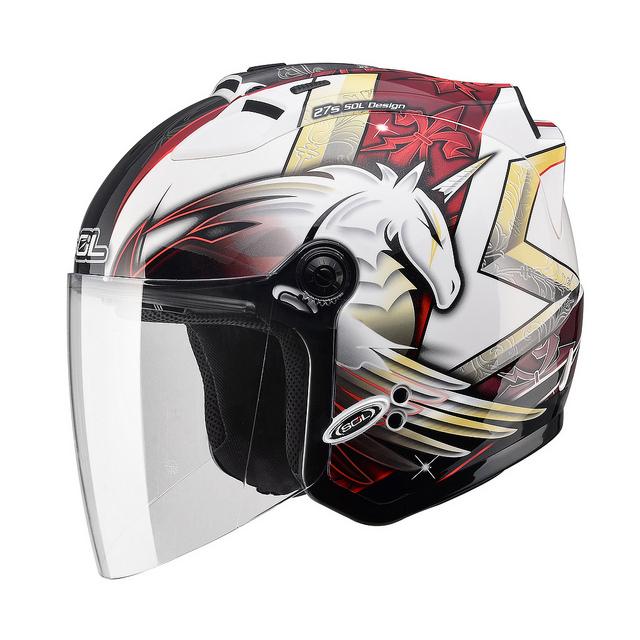 【SOL 27S 獨角獸三代 白紅 安全帽】半罩、內襯全可拆洗、免運 加贈好禮