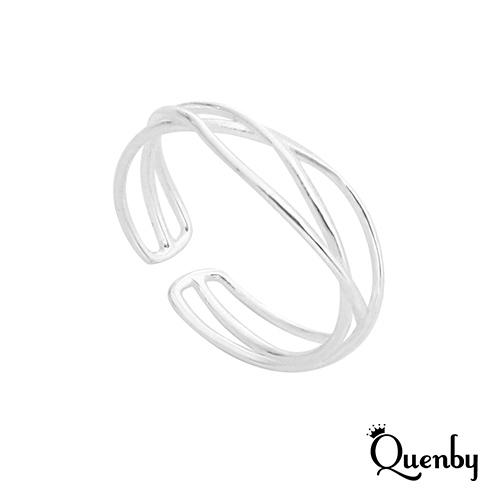 Quenby 925純銀 極具格調簡約感開口食指中指戒指/銀飾