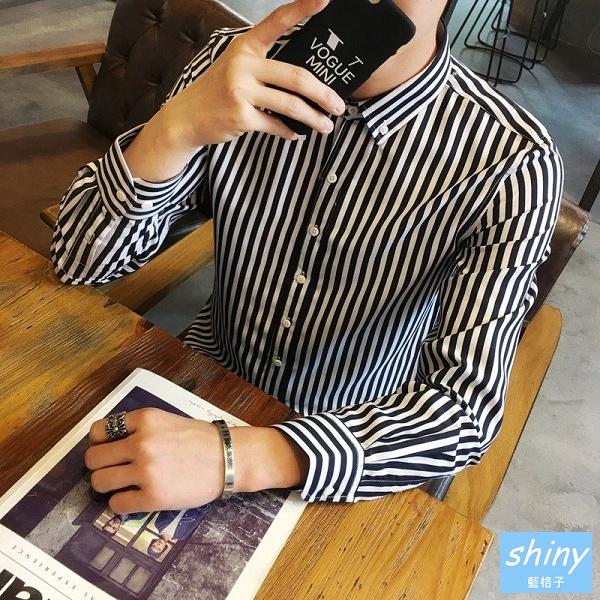 【Y213】shiny藍格子-熟男時尚.秋季男條紋長袖襯衫上衣