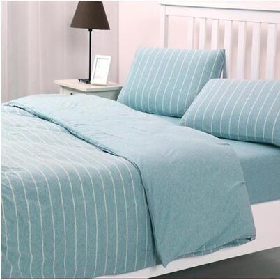 天竺棉四件套純棉簡約條紋床單被套針織棉全棉床笠床上用品水藍寬條