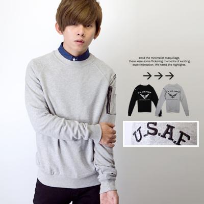 電繡字母U.S.A.F拉鍊造型高磅數大學T【N9360J】