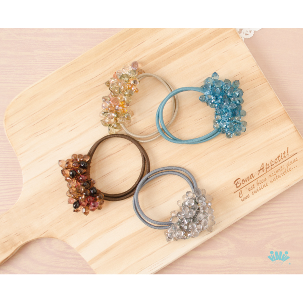 viNvi Lady 果凍串珠花朵雙繩髮圈 髮飾