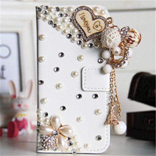 俏魔女美人館HTC ONE E8愛心流蘇皮套水鑽保護殼翻蓋套貼鑽手機套保護殼保護套