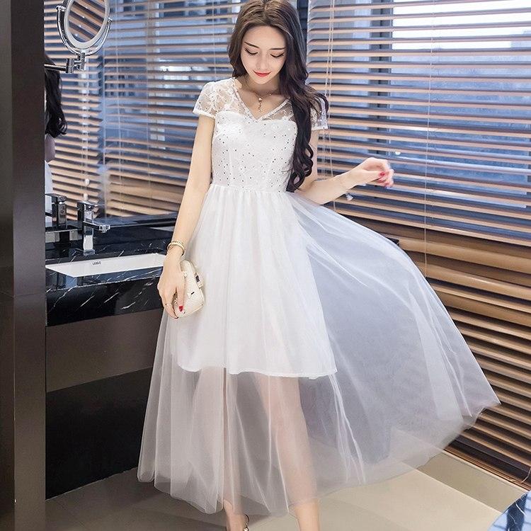 中大尺碼*性感珍珠V領網紗短袖迷人透視網紗長裙洋裝小禮服~美之札