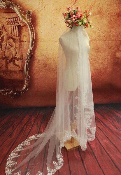 婚紗頭紗 300cm軟紗超長婚紗配件頭紗-mingm00209