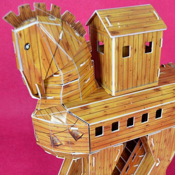 佳廷家庭親子DIY紙模型立體勞作3D立體拼圖專賣店古希臘木馬屠城記特洛伊木馬卡樂保