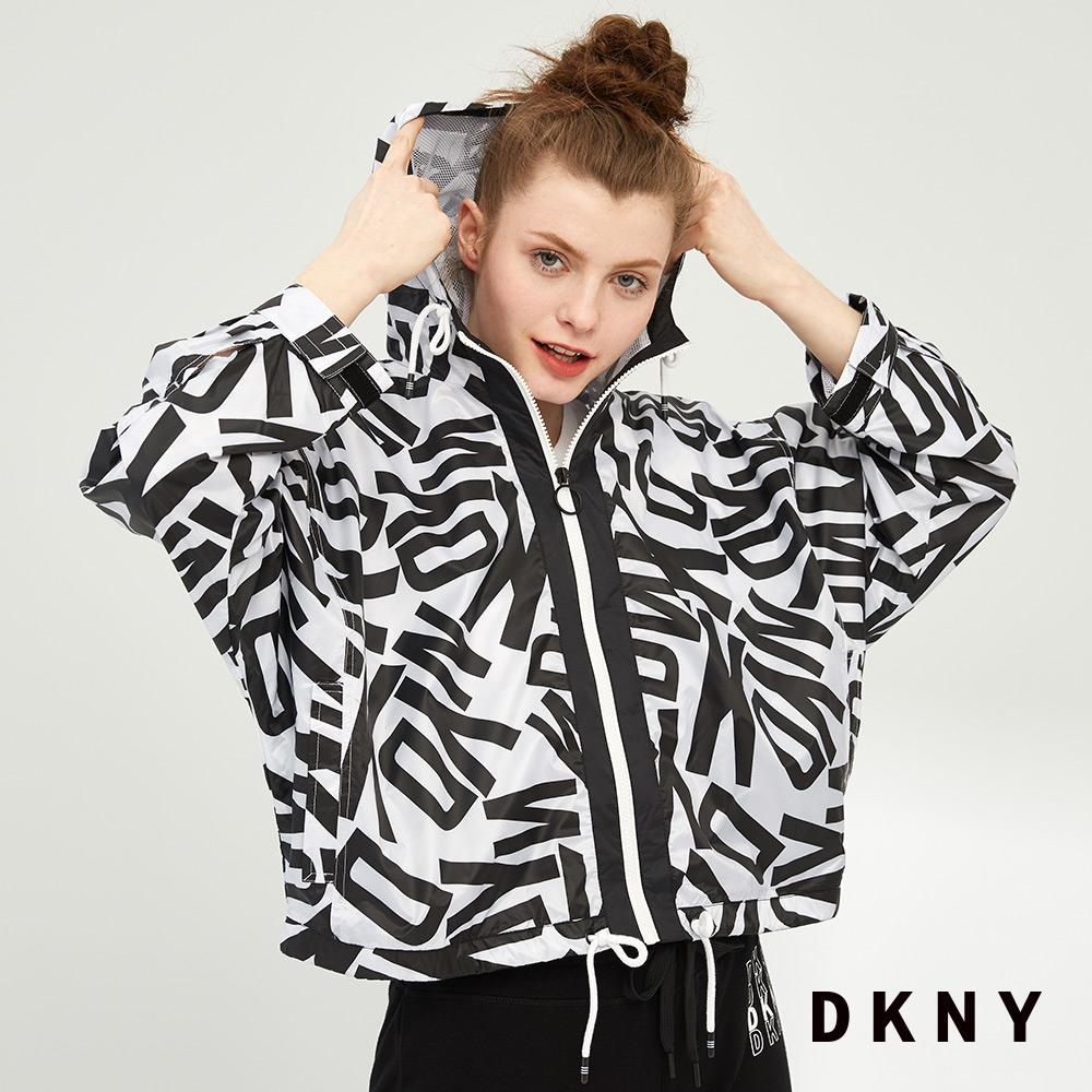 DKNY 女 連帽外套 運動街頭 輕便 黑白