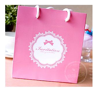 幸福朵朵*蝴蝶結蕾絲「粉色」(14X15X7cm)小手提袋(禮物包裝)婚禮小物.禮物袋.手提紙袋