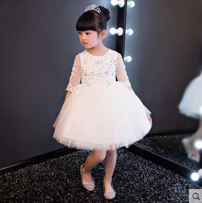 熊孩子兒童禮服裙公主裙主持人禮服花童夏白色