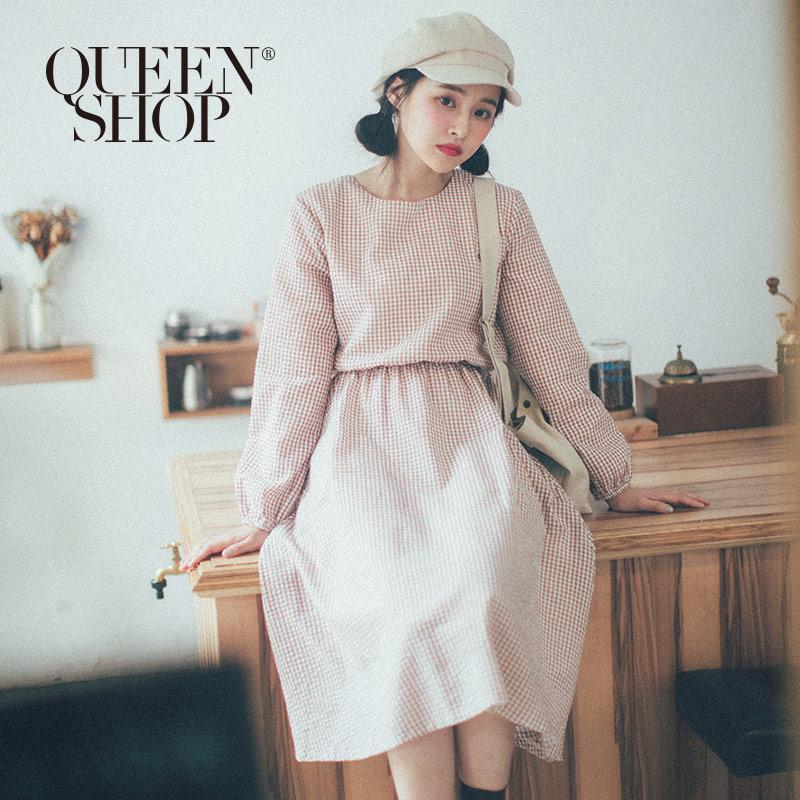 Queen Shop【01084587】圓領小格紋縮腰洋裝 兩色售*現+預*