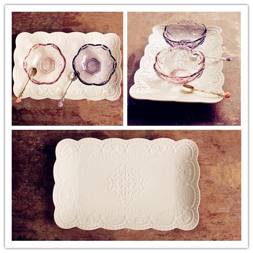 協貿國際浮雕蝴蝶餐盤菜盤下午茶水果盤陶瓷長方形盤子1入