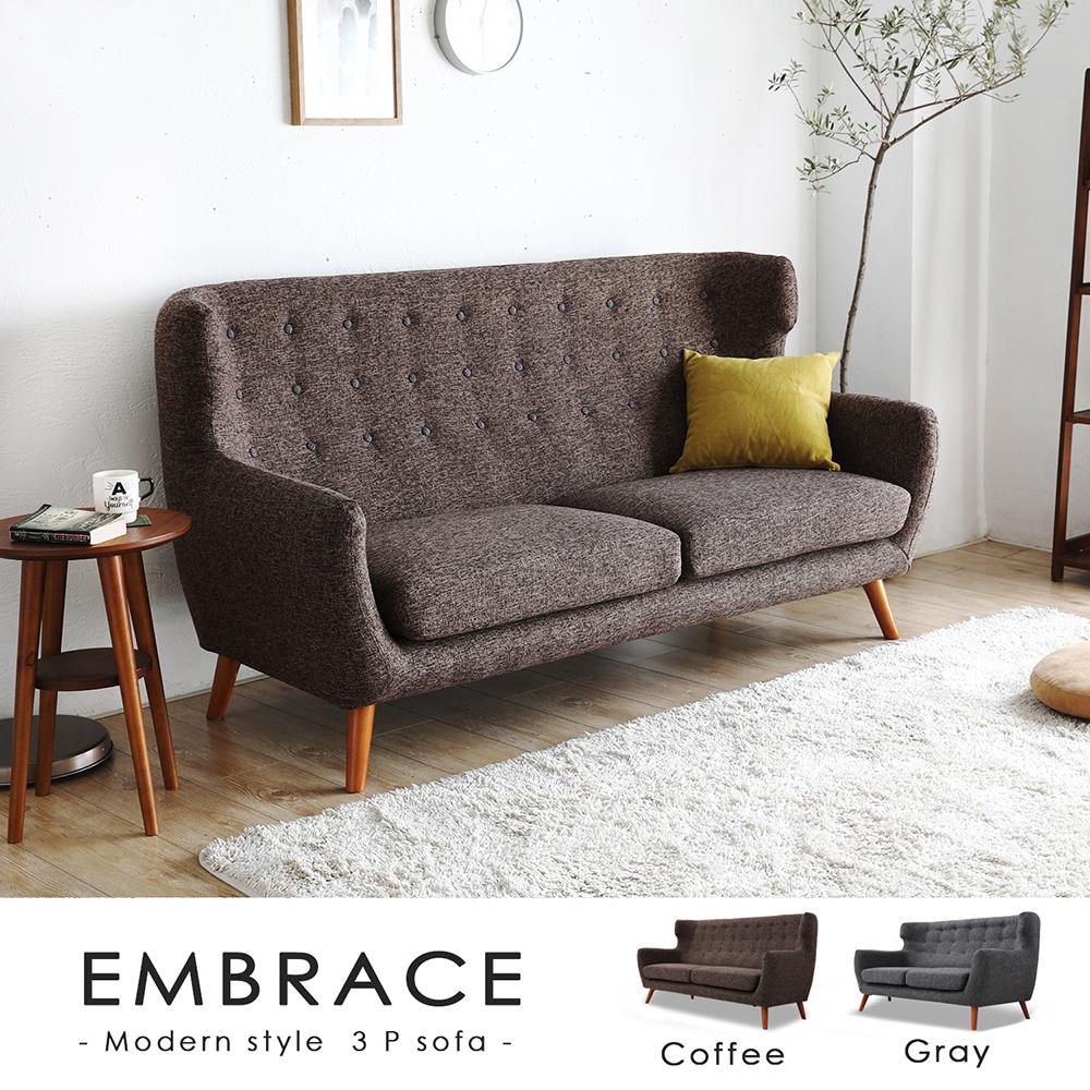 沙發三人沙發布沙發Embrace艾伯斯擁抱舒適三人沙發-咖啡色2色H D DESIGN