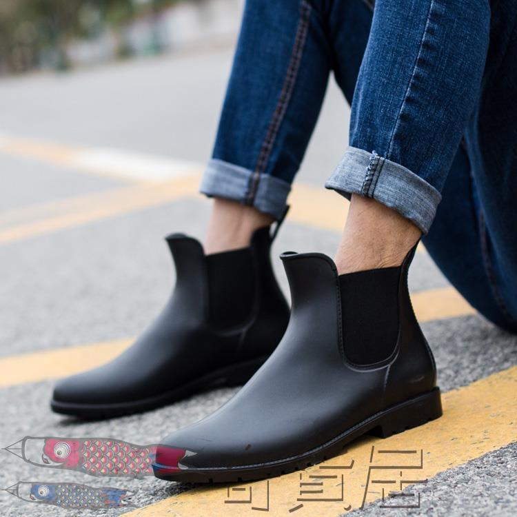 雨鞋低筒切爾西雨靴男短筒防水膠鞋