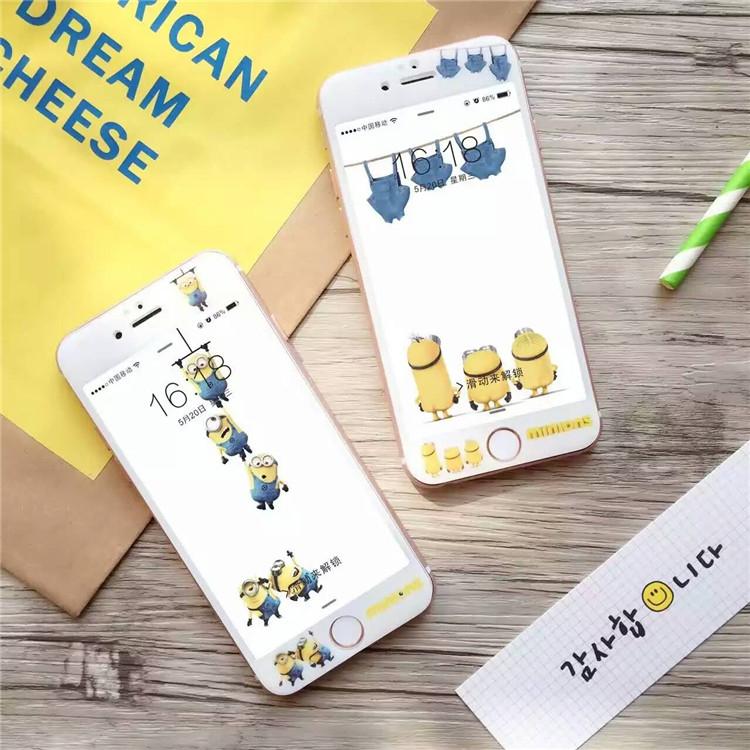 【SZ25】iPhone 7 神偷奶爸 小黃人 全屏3D納米 iPhone 6s plus鋼化膜玻璃卡通6s防爆貼膜 iphone 7 plus