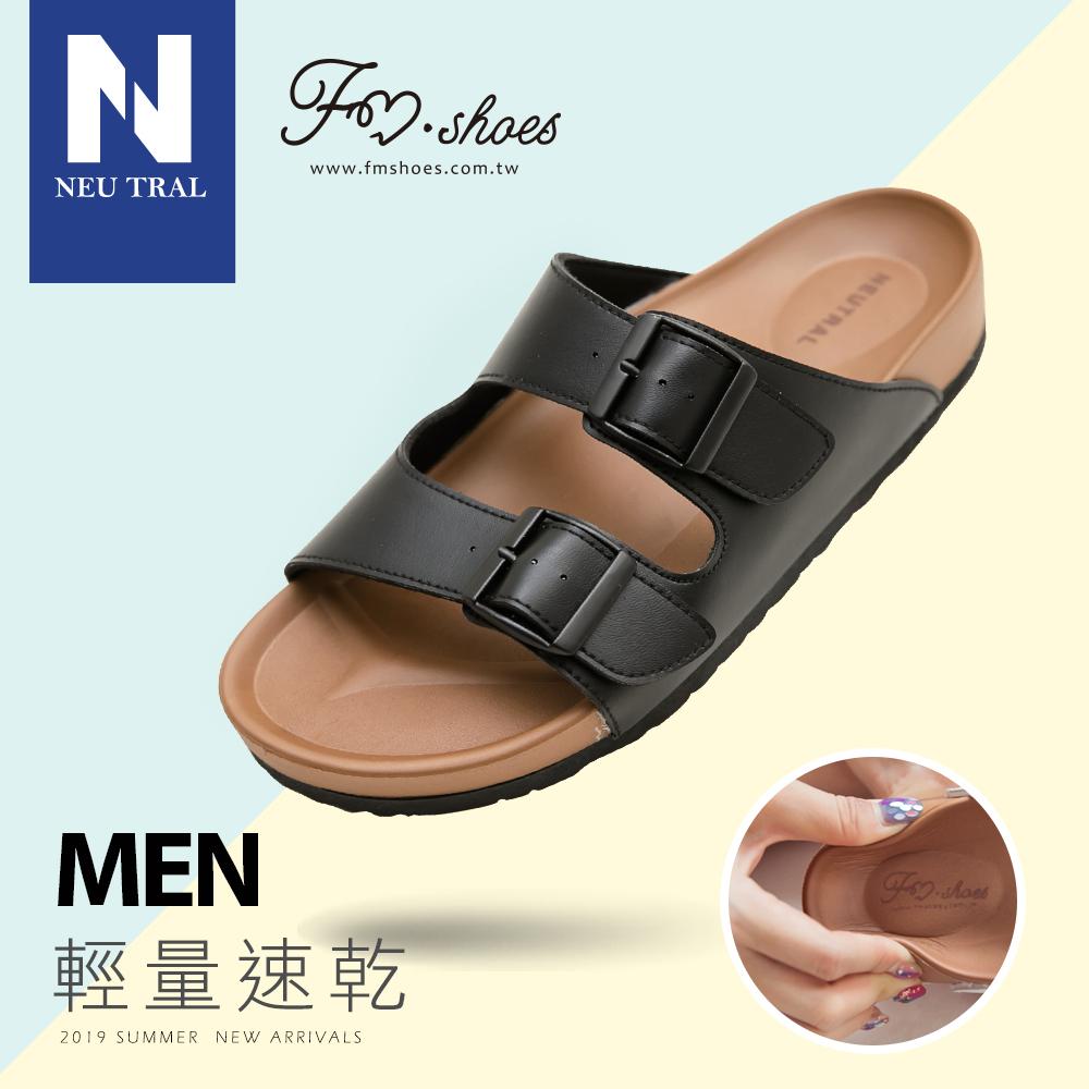 拖鞋.雙帶輕量減壓休閒拖鞋-黑-MEN-FM時尚美鞋-NeuTral.Renew