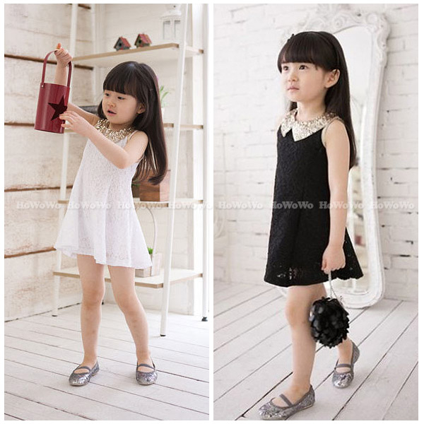 短袖洋裝亮片花邊蕾絲連衣裙小禮服童裝FM050好娃娃