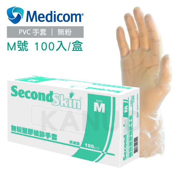 Medicom無粉塑膠檢診手套塑膠手套M號100隻1盒