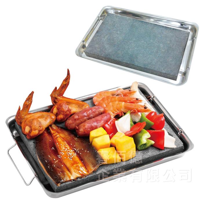 二代派樂天然火成岩BBQ不鏽鋼石板烤盤1入岩燒石板烤肉盤附不鏽鋼導熱盤烤肉夾烤肉刷