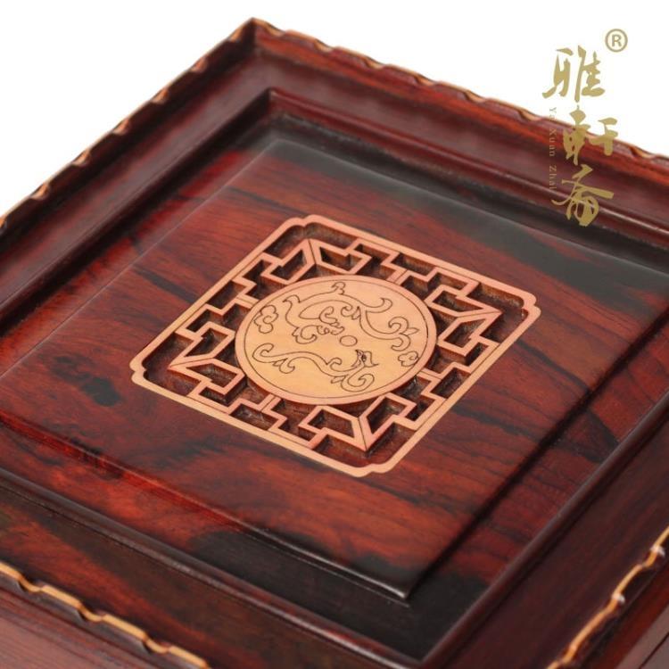 超豐國際紅木首飾盒紅酸枝正方收納盒子印章盒檀木玉器盒1入
