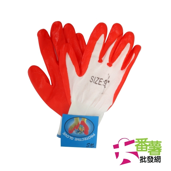 加厚沾膠耐油手套工作手套止滑手套大番薯批發網