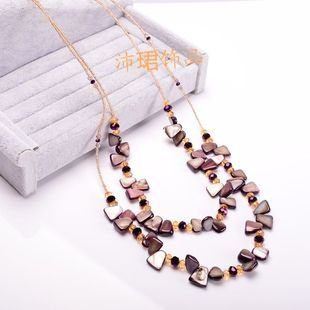 雙層貝殼手工長款項鏈波西米亞項鏈時尚女款經典新款5色入