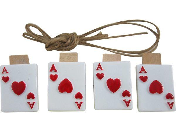 卡漫城木夾裝飾版夾子撲克牌留言夾名片夾造型便條夾便籤夾四入組