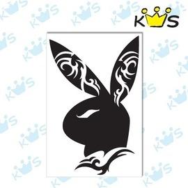 【收藏天地】防水防曬*安全帽 汽機車 萬用貼-紋身兔 (2色) 大