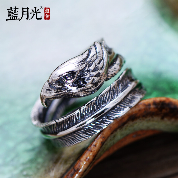 超豐國際s925銀飾品復古泰銀老鷹羽毛開口銀戒指男女食