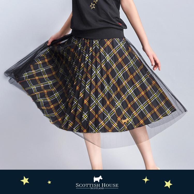 兩穿網紗百褶格紋長裙 Scottish House【AJ2120】