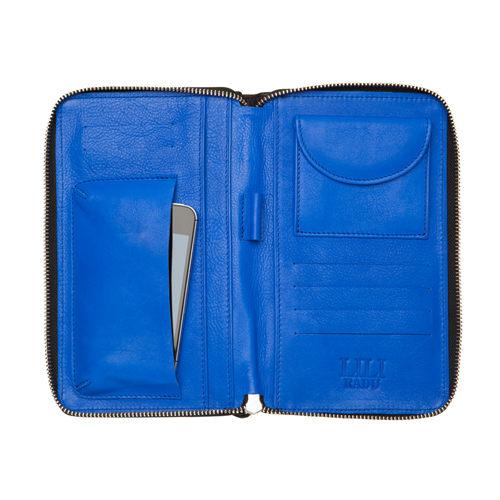 LILI RADU德國新銳時尚設計品牌手工雙色小牛皮時尚手拿多功能手機包錢包簡約黑