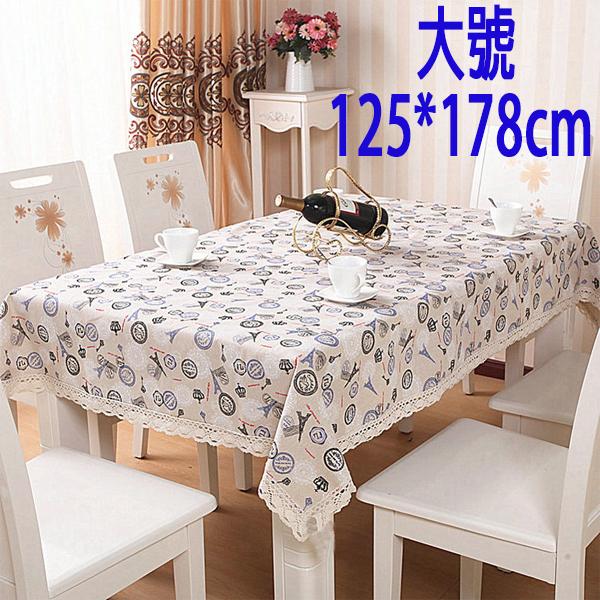 BO雜貨SV9569歐式田園布藝蕾絲花邊餐桌布純棉麻蕾絲花邊餐桌布茶几布125*178cm