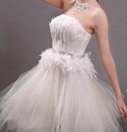 45 Design定做款客製化7天到貨韓版多色羽毛小禮服禮服裙短款敬酒服伴娘服晚宴白色