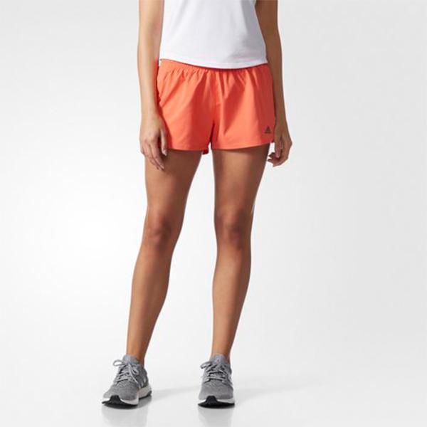 adidas Woven Slit Short女橘慢跑短褲飄飄褲排汗透氣休閒馬拉松運動短褲climalite BP9307