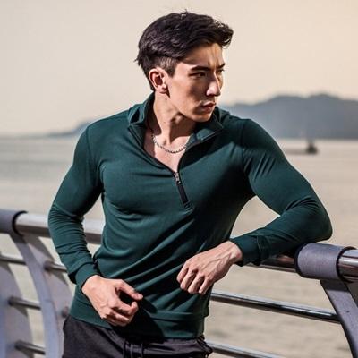 健身緊身衣-戶外登山拉鍊立領男長袖運動服73np13時尚巴黎