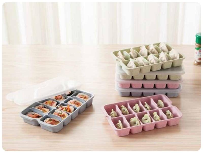 小麥10格水餃盒無毒小麥秸稈廚房冰箱10顆水餃收納盒冷凍餃子盒儲存保鮮盒收納盒首飾